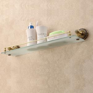 Custom Brass Antique Bronze Glass Bathroom Shelves