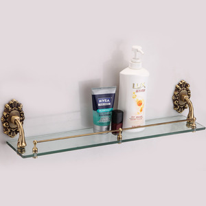 Designer Antique Bronze Glass Bathroom Single Shelves
