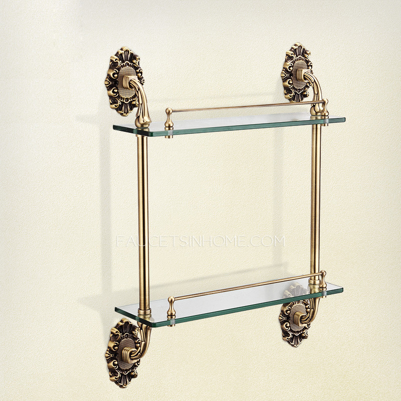 Antique Bronze Double Glass Bathroom Shelves