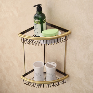Designer Triangle Wire Antique Bronze Bathroom Corner Shelves