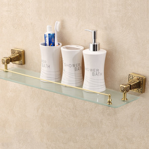 Antique Bronze Single Bathroom Glass Shelves