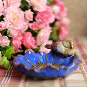 Decorative Blue Bird Ceramic Soap Dishes For Bathroom