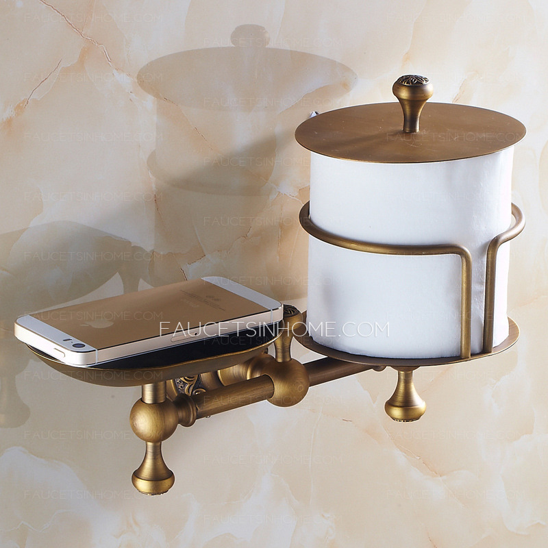 Antique Brass Toilet Paper Roll Holder With Soap Dish