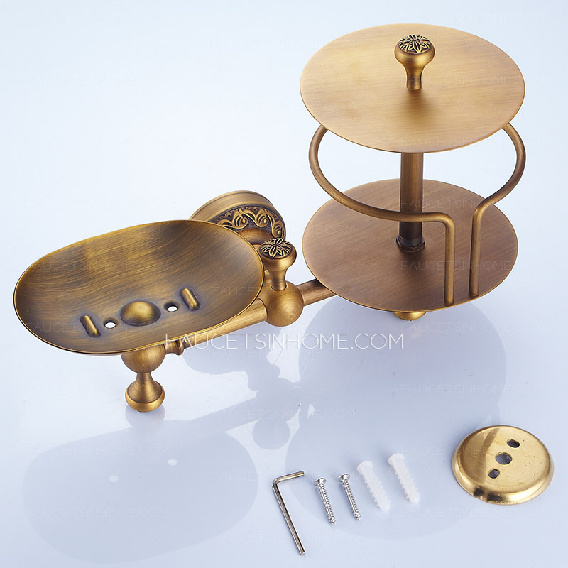 Antique brass toilet paper roll holder with soap dish Antique toilet roll holders