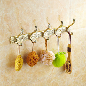 Luxury Polished Brass 5 Hooks Robe Hooks