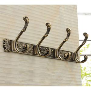 Antique Bronze 4-Hooks Brass Robe Hooks