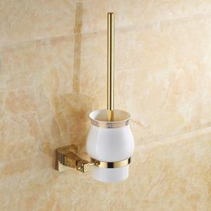 High End Gold Brass Ceramic Toilet Brush Holder