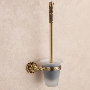 Antique Bronze Brass Glass Toilet Brush Holder