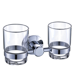 Modern Stainless Steel Glass Double Toothbrush Holder