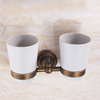 Vintage Two Cups Wall Mount Toothbrush Holder