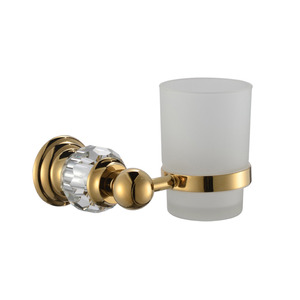 Luxury Gold Brass Crystal Single Toothbrush Holder