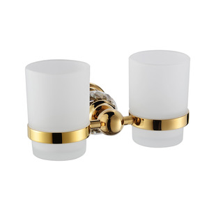 Luxury Gold Brass Crystal Double Cup Toothbrush Holder