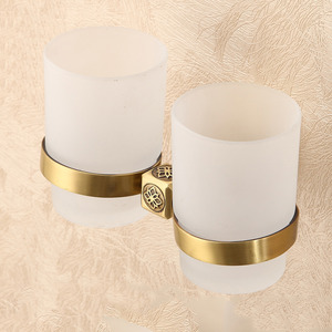 Quality Double Glass Cups Brass Toothbrush Holder