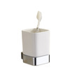 Decorative White Ceramic Single Cup Toothbrush Holder