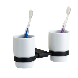 Modern Black Double Cups Ceramic Toothbrush Holder