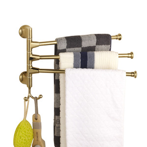 Gold Stainless Steel Three Bars Rotate Towel Bars With Robe Hook