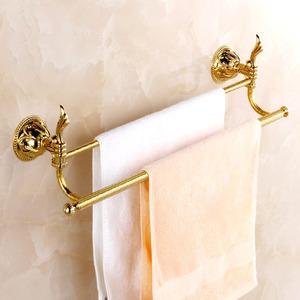 Decorative Brass Golden Towel Bars Two Bars