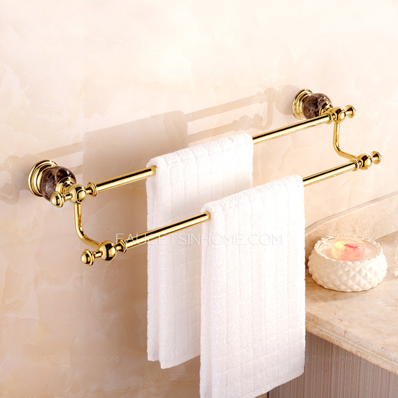 Where To Put Towel Bars In Bathroom: High End Marble Double Towel Bars For Bathroom