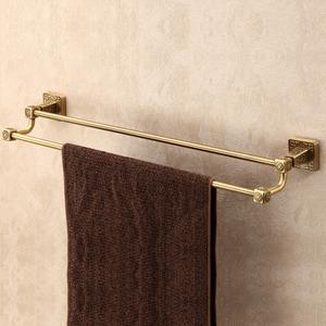Long Antique Brass Double Towel Bars Square Shape