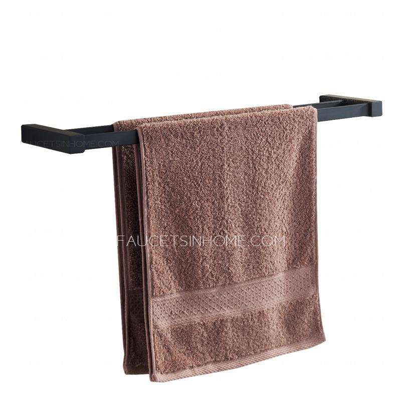 simple style black painting double towel bars bathroom