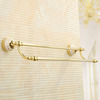 Bright Gold Brass Bathroom Accessory Double Towel Bars