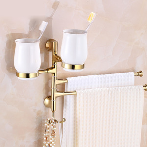 Designer Brass Double Bars Towel Bars With Two Toothbrush Cup