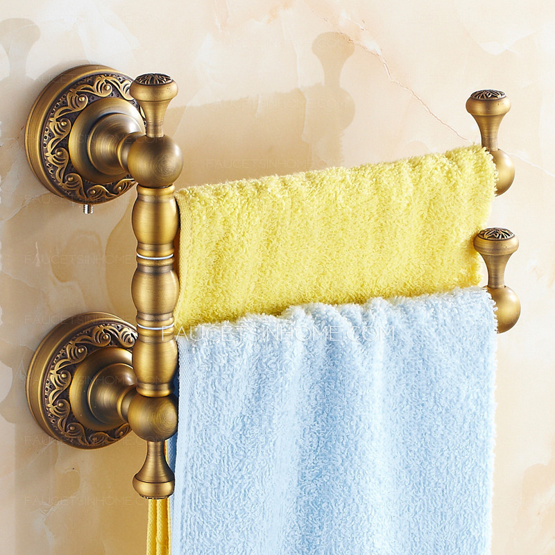 Antique Brass Rotate Bathroom Accessory Double Towel Bars