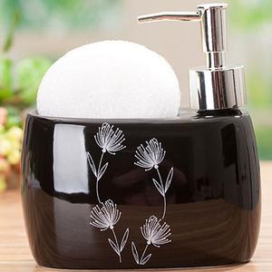 Designer Black Ceramic Soap Dispensers With Floral Pattern