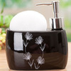 Designer Black Ceramic Soap Dispensers With Floral Pattern