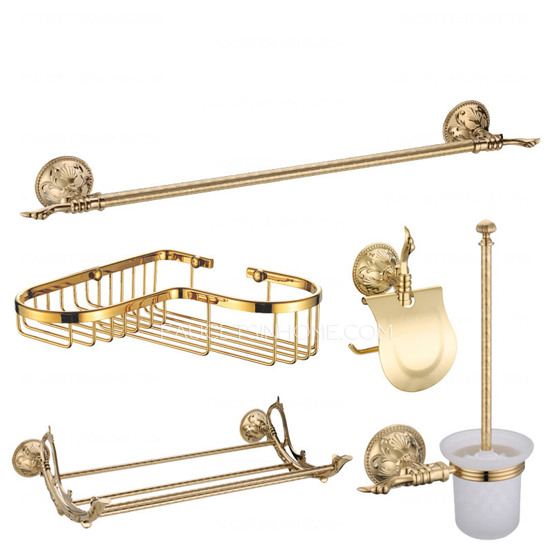 Shiny gold brass vintage 5 piece bathroom accessory sets for Gold bathroom accessories sets