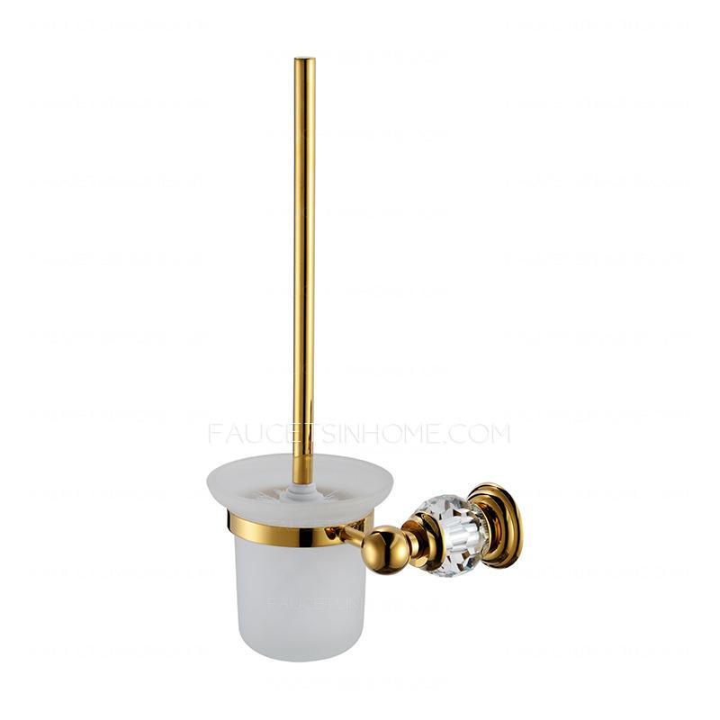 Golden Crystal Brass Bathroom Accessory Sets (4 Piece)