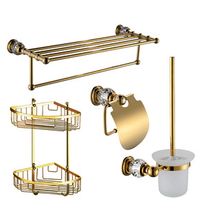Golden Crystal Brass Bathroom Accessory Sets (4-piece)