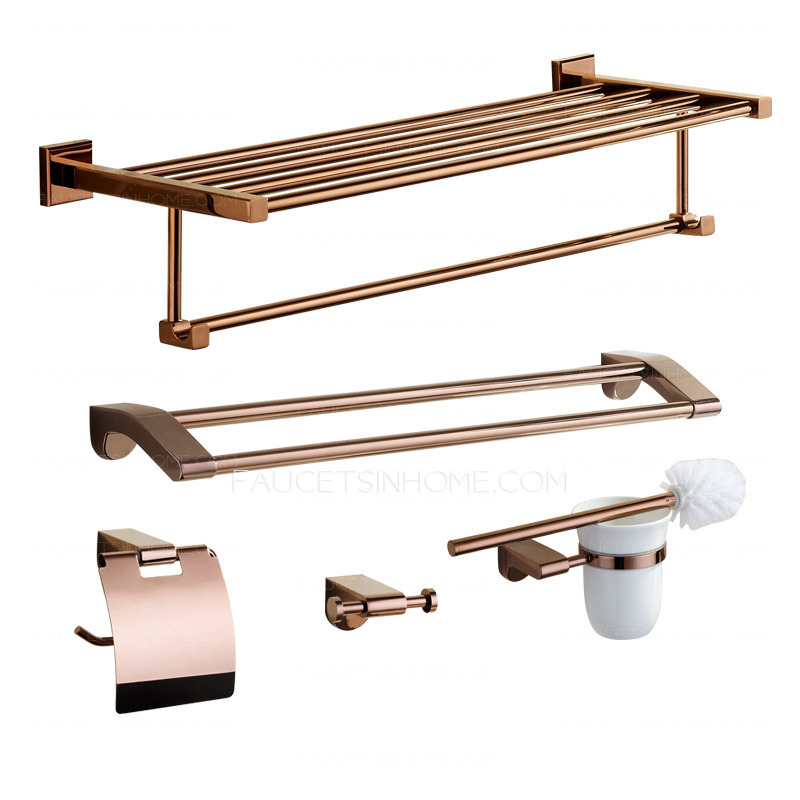 Luxury rose gold five piece bathroom accessory sets for Gold bathroom accessories sets
