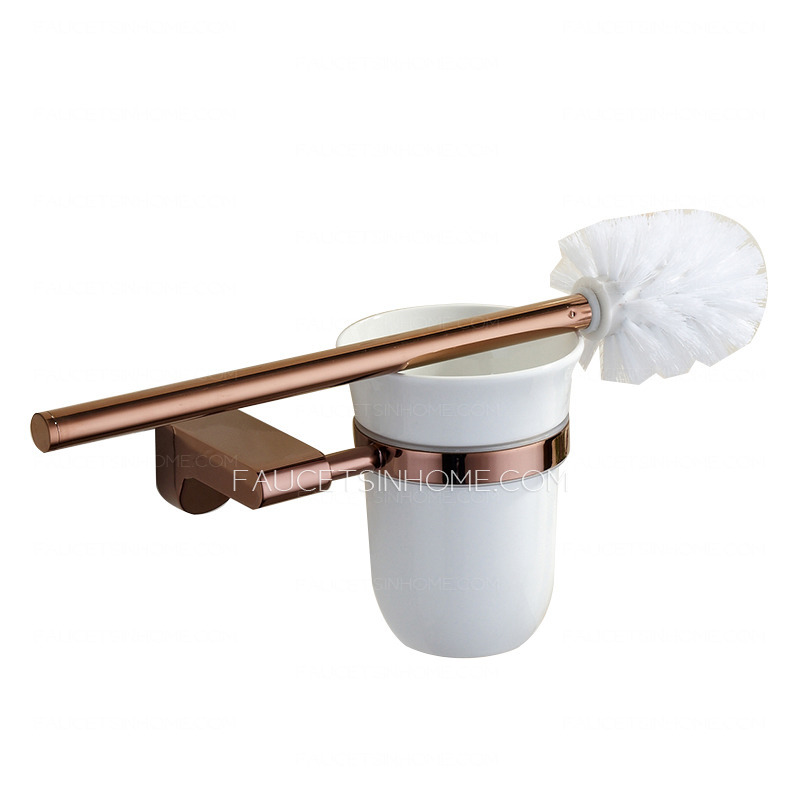 Luxury rose gold five piece bathroom accessory sets for Rose gold bathroom set