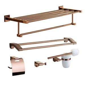 Luxury Rose Gold Five-piece Bathroom Accessory Sets