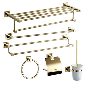 Modern Brass 6-piece Bathroom Accessory Sets