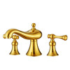 Designer Two Handles Polished Brass Gold Bathroom Faucet