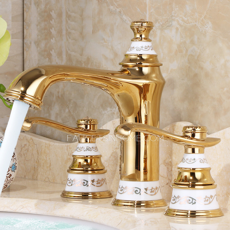 3 Hole Bathroom Faucet luxury polished brass two handles 3 hole bathroom faucet