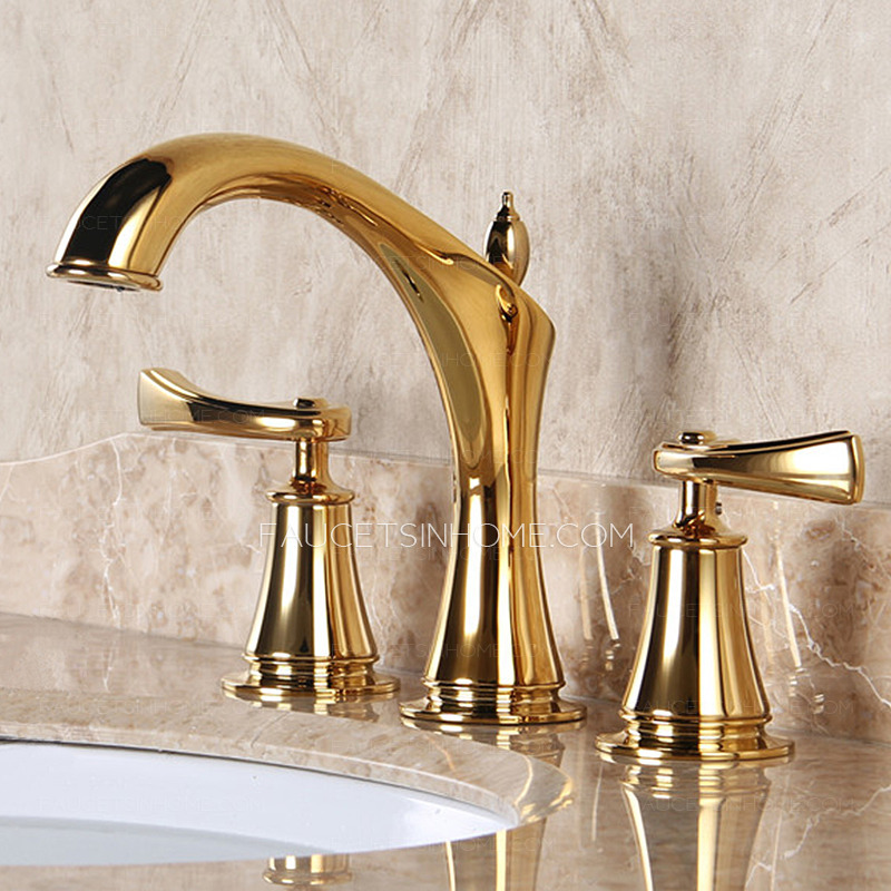 Designer Polished Brass Three Holes Decorative Bathroom Faucets