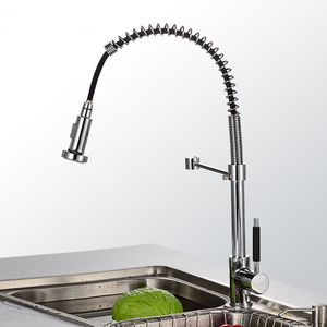 Designed Rotatable PVD Finish Pullout Kitchen Faucets
