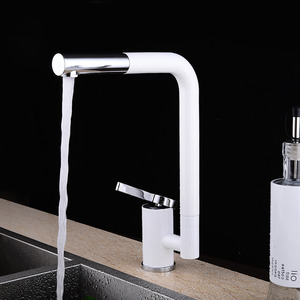 Cool White Rotatable One Hole Single Handle Kitchen Faucets