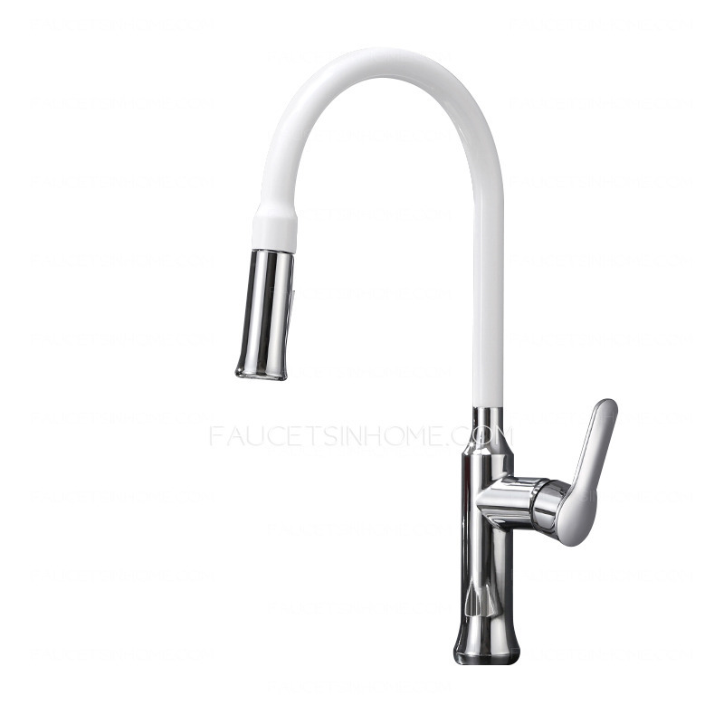 White Kitchen Taps: Designed Copper White Chrome Finish Pullout Spray For