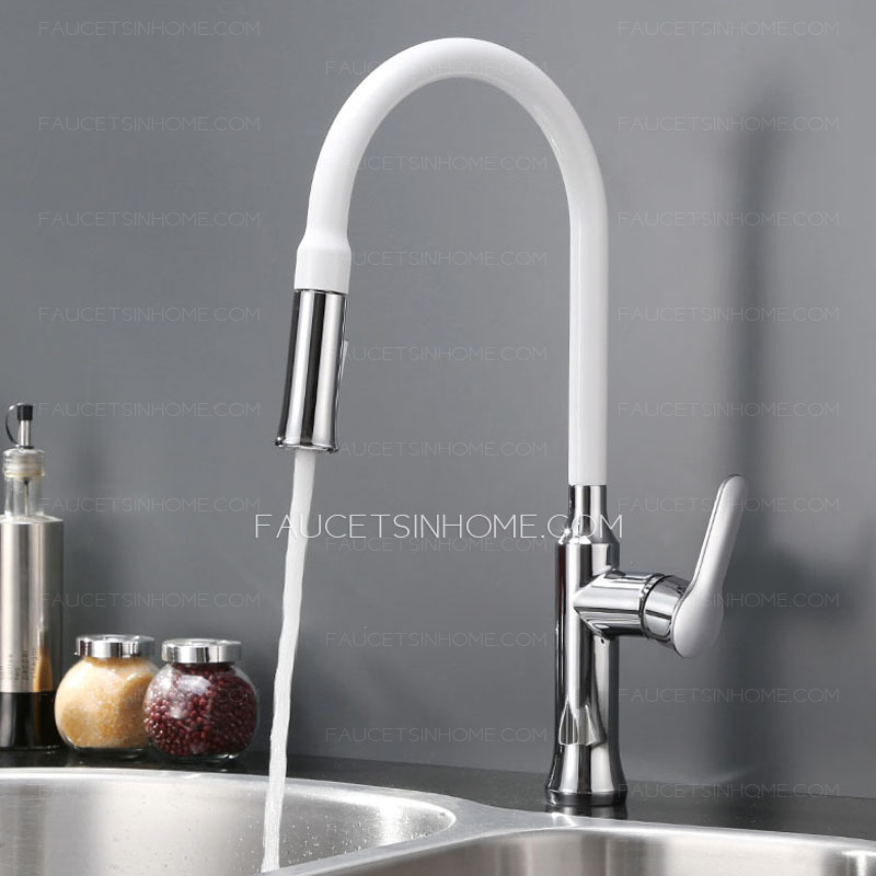 Designed Copper White Chrome Finish Pullout Spray For Kitchen Faucets