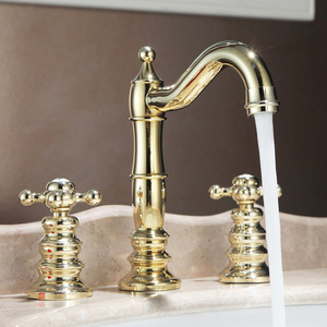 Vintage Polished Brass Finish Widespread Bathroom Sink Faucets