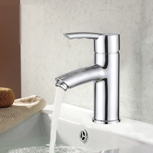 Modern Chrome Finish One Hole Bathroom Sink Faucets