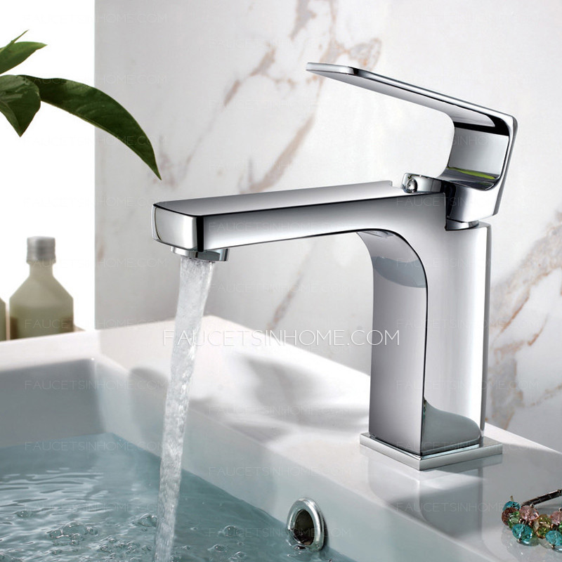 Modern Square Chrome Finish Bathroom Sink Faucets