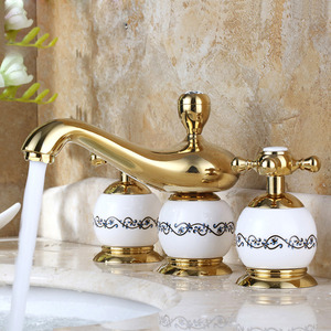 Vintage wall mount three hole antique brass bathroom faucets - White porcelain bathroom fixtures ...