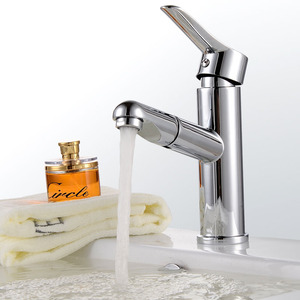 Modern Design Pullout Spray Chrome Finish Bathroom Faucet