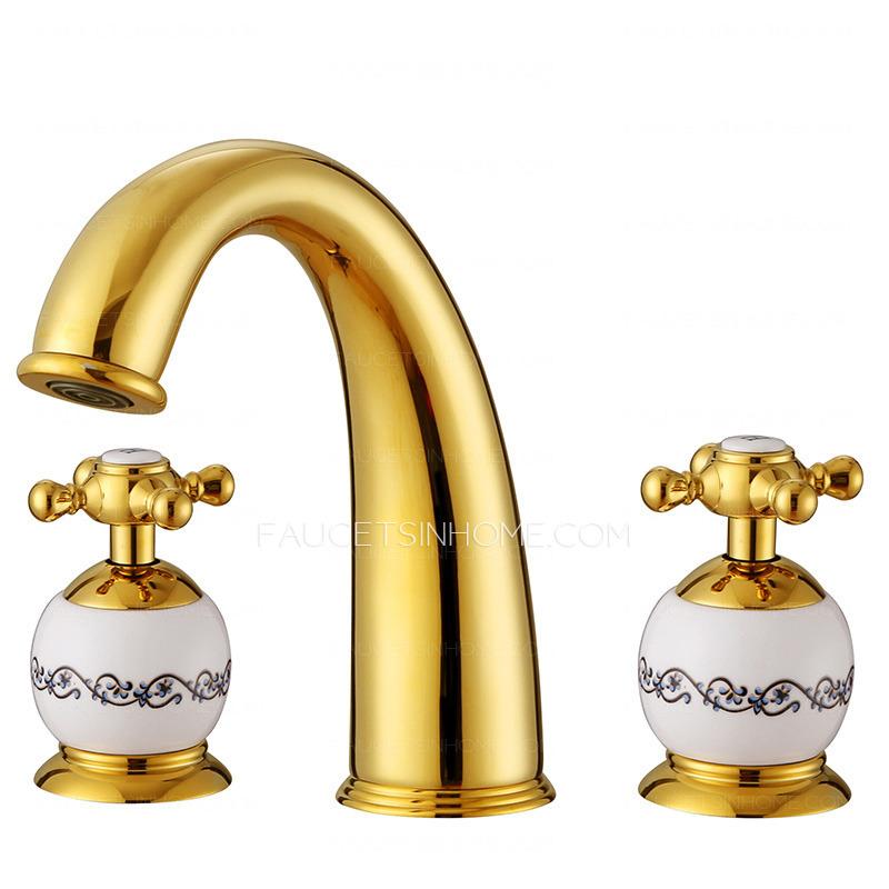 Polished brass three holes widespread bathroom faucet - Polished brass bathroom faucets widespread ...