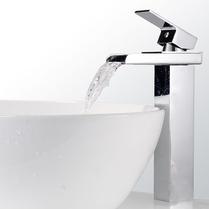 Contemporary High Foot Waterfall One Hole Bathroom Faucet